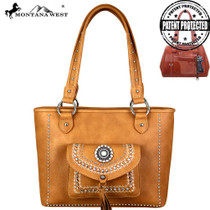 Montana West Concho Collection Concealed Carry Tote, Brown