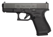 "Glock 19 Gen5 M.O.S.Compact 9MM, 4"" Barrel, Fixed Sights, 3- 15Rd Mags, Front Serrations, Ambi Slide Stop"