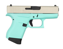 "Glock G43 9mm, 3.41"" Barrel, 6rd, Aluminum Cerakoted Slide, Robins Egg Blue Frame#2"