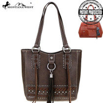 Montana West Fringe Collection Concealed Carry Tote - Coffee