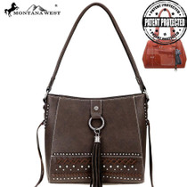 Montana West Fringe Collection Concealed Carry Hobo - Coffee