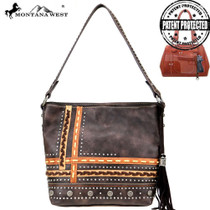 Montana West Concho Collection Concealed Carry Hobo - Coffee