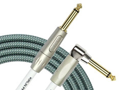 Kirlin IWB-202 PFGL Woven Guitar Cable Straight/Right Angle - Olive