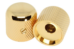 "Metal Dome Round Top Knobs for 1/4"" pot shaft - Gold Set of 2"