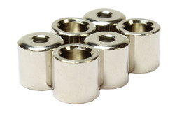Recessed rear mounted guitar string ferrules in Nickel. Set of 6