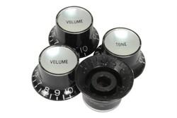 Reflector knobs Black w/ silver reflector - Fine spline