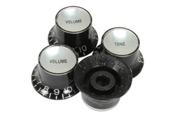 Reflector knobs Black w/ silver reflector - Fine spline