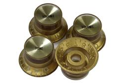 Gold reflector knobs with spun gold reflectors - Fine spline