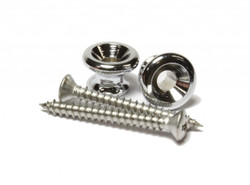 Chrome strap buttons set with mounting screws.