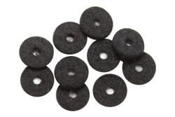 Black strap button felt washer 10 pack