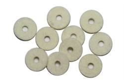 White strap button felt washers 10 pack