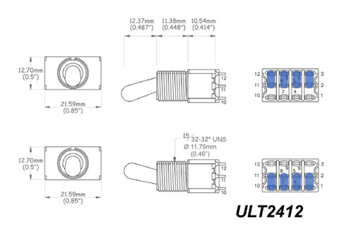 Large Ultra Toggle Switch 4PDT 4-Pole 2-way On-On - Chrome ...