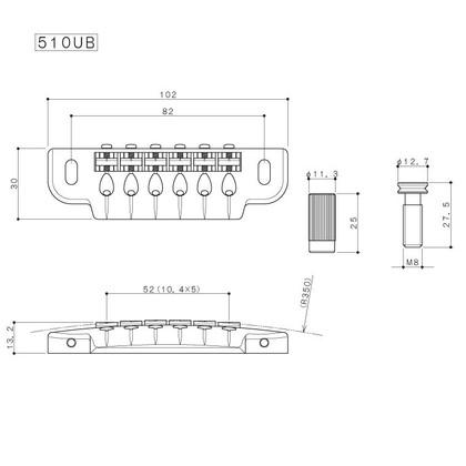Gotoh 510ub Wraparound Guitar Bridge And Tailpiece With Stud Lock