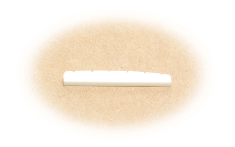 Preshaped bone nut for Fender guitars with flat bottom and slotted.