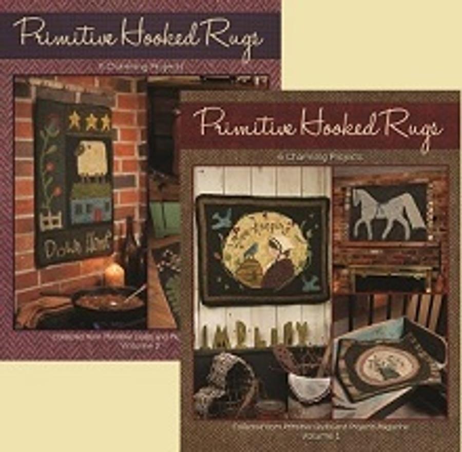 Primitive Hooked Rugs Bundle, Vol 1 and Vol 2