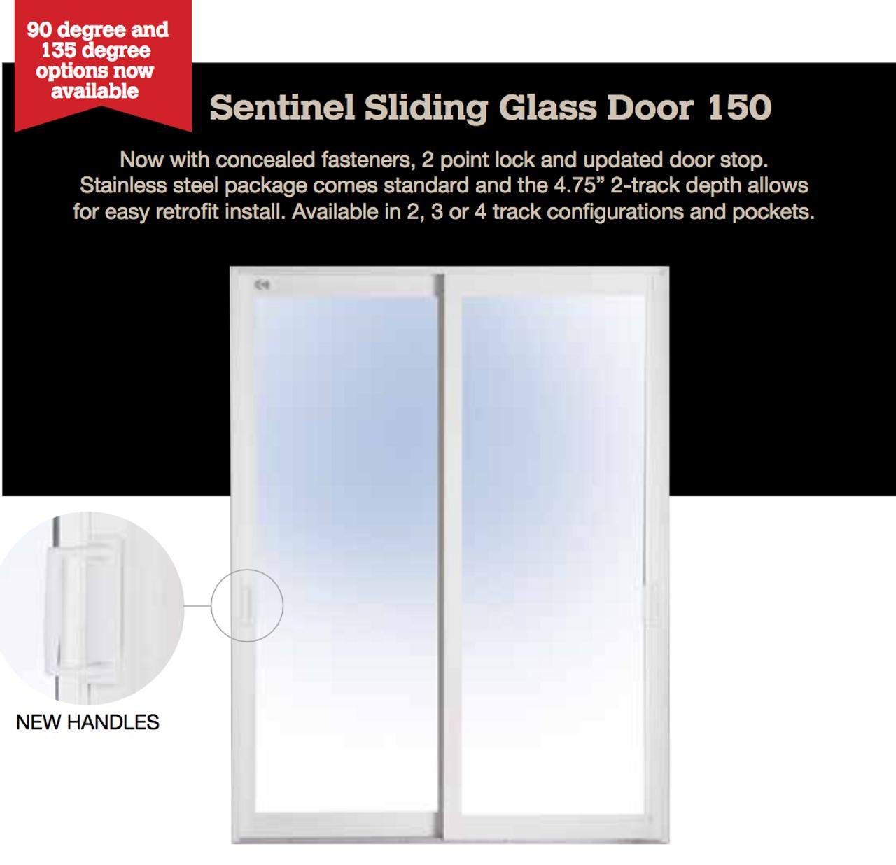 sentinel 2 door 2 track sliding glass door