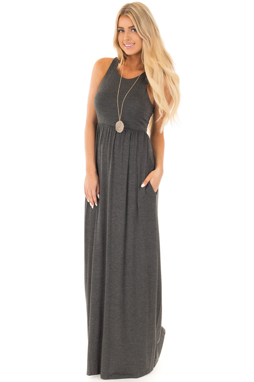 Black Racerback Tank Maxi Dress With Pockets Lime Lush