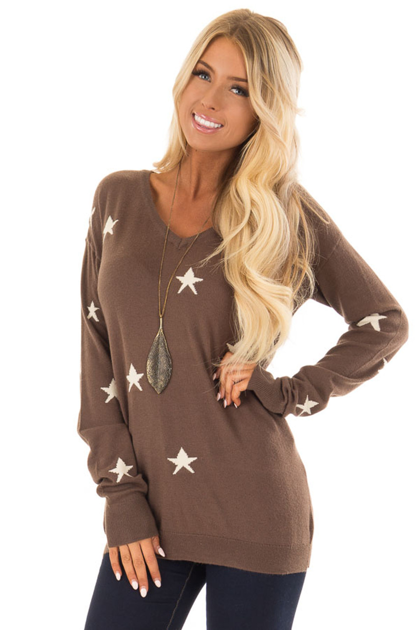 Chocolate Brown Soft Knit V Neck Sweater With Star Pattern Lime