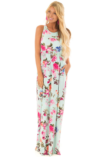 238bd3d6774 Mint Racerback Floral Maxi Dress with Side Pockets.  46.99 · Mint Racerback  Maxi Dress with Fuchsia Floral Print front full body