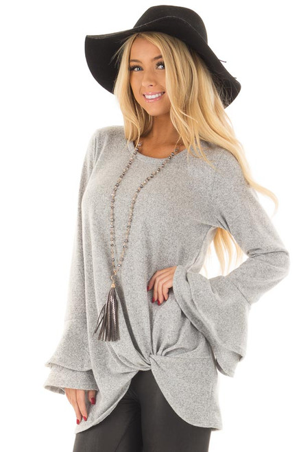 Cloud Grey V Neck Soft Sweater With Tiered Bell Sleeves