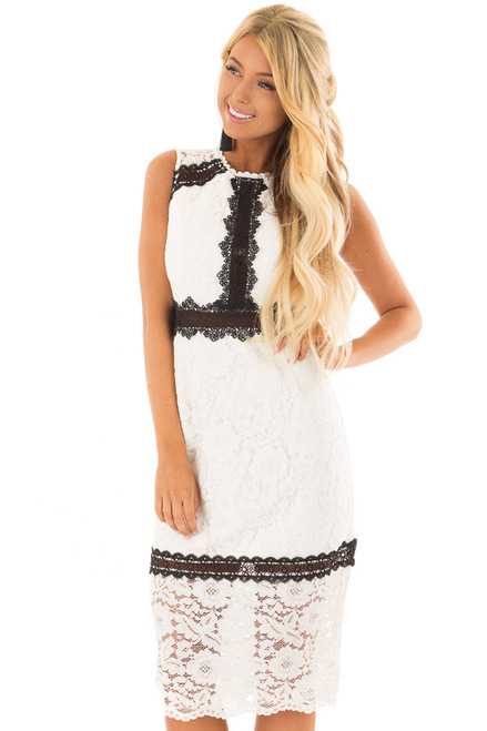 White Sleeveless Lace Midi Dress With Black Contrast Detail Lime
