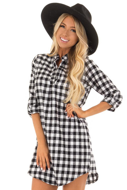 Black And White Checkered Dress With 34 Sleeves Lime Lush Boutique