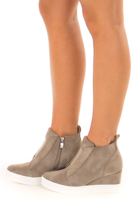 Taupe Suede Wedge Bootie With Neutral Colored Knit