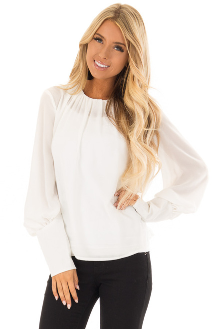 Off White Blouse with Long Puffy Sleeves