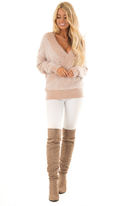 Camel Super Soft Crossover Sweater With Back Ribbon Tie
