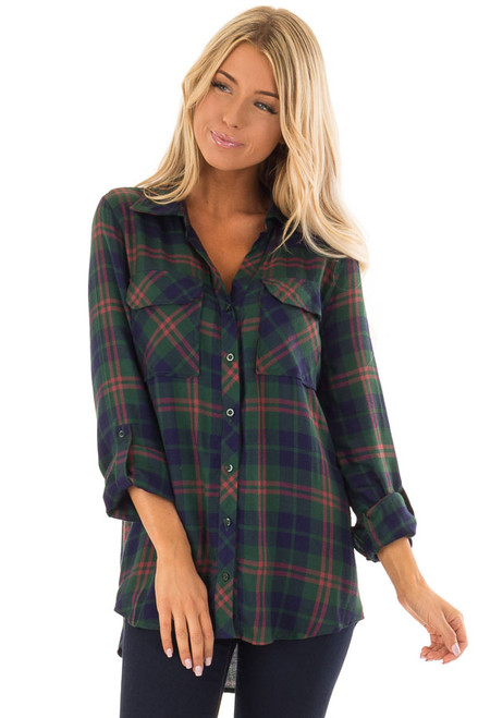 0a63db5ee817c3 Hunter Green and Navy Plaid Button Up Top with Long Sleeves