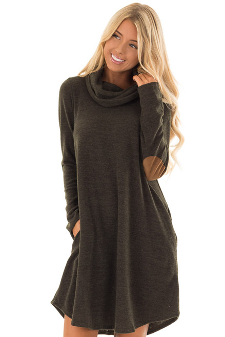 Dark Olive Cowl Neck Sweater Dress With Hidden Pockets Lime Lush
