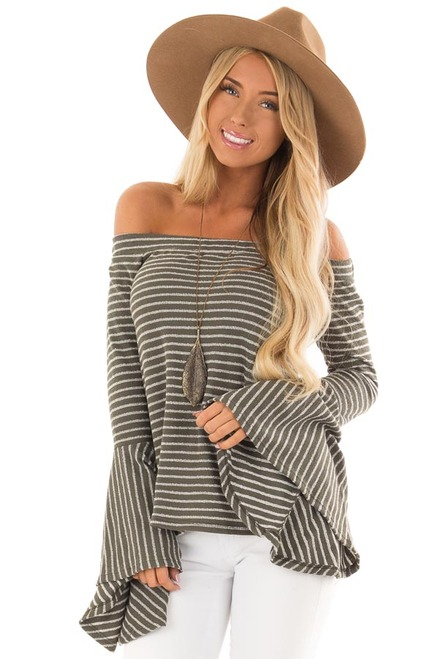 6389f26e3374c0 Olive Striped Off the Shoulder Long Bell Sleeve Top