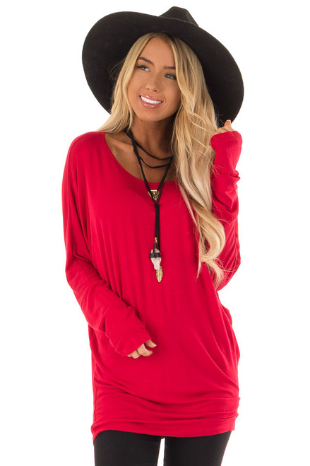 Ruby Red Long Sleeve Fit And Flare Sweater Dress For Sale