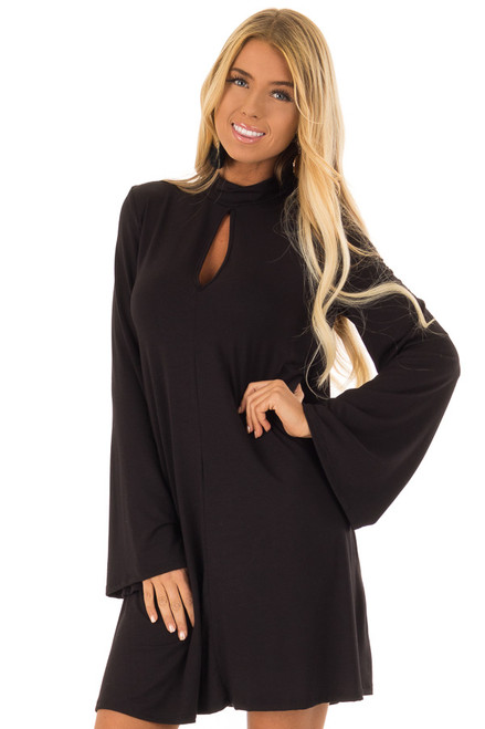 Black Long Bell Sleeve Mock Neck Dress With Keyhole Detail Lime