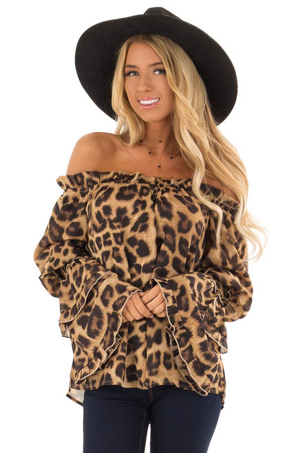 Gold Leopard Print Surplice Crop Top With Front Tie Detail