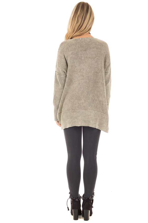 Faded Olive Cable Knit V Neck Sweater Lime Lush