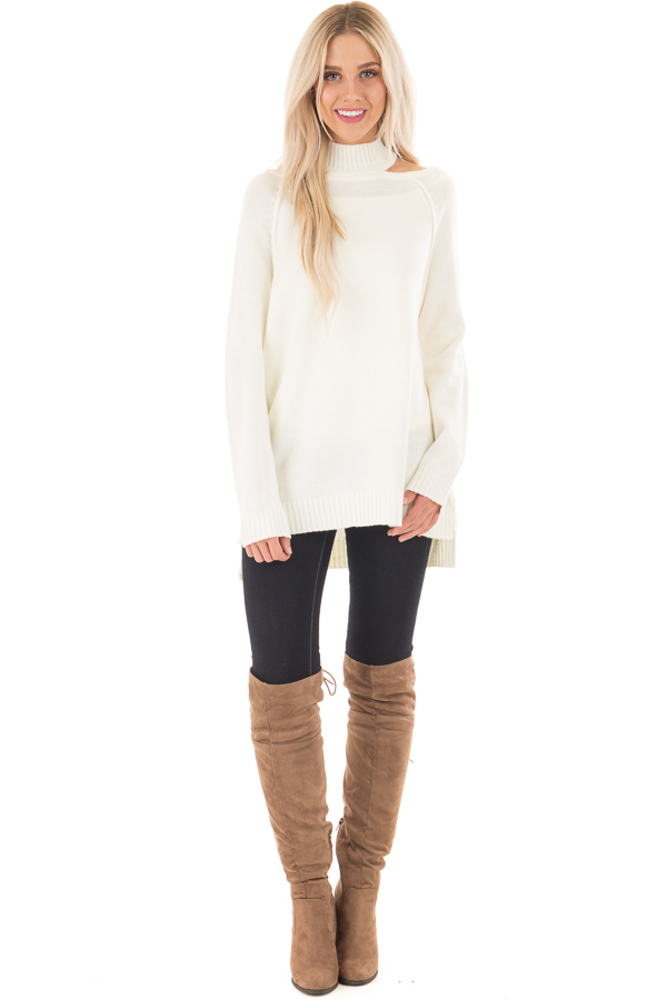 Off White Tunic Sweater With Cut Out Details Lime Lush