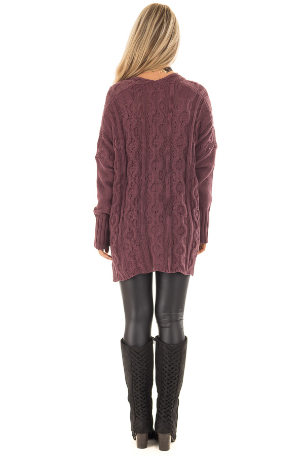 Deep Burgundy Cable Knit V Neck Oversized Sweater Lime Lush Boutique