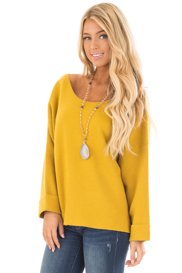Sunflower Sweater With Open Tie Back Lime Lush Boutique