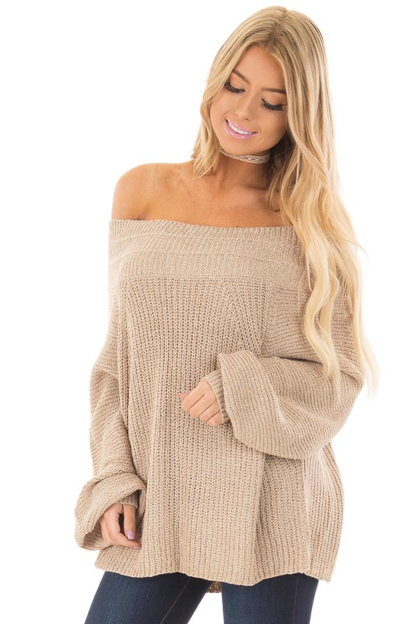Oatmeal Long Sleeve Off The Shoulder Oversized Sweater