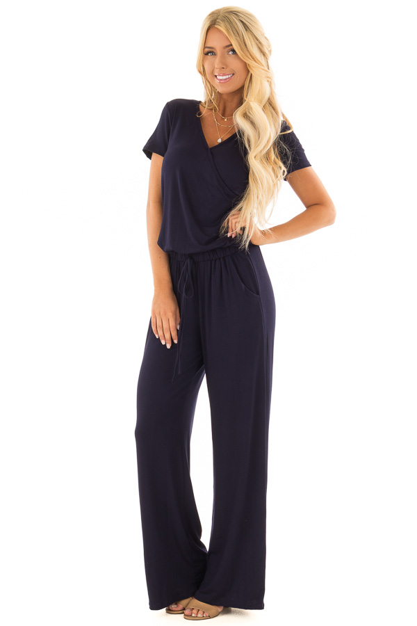 Navy Short Sleeve Jumpsuit With Gathered Waist And Pockets Lime
