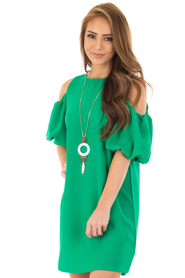 Kelly Green Cold Shoulder Dress With Bubble Sleeves Lime