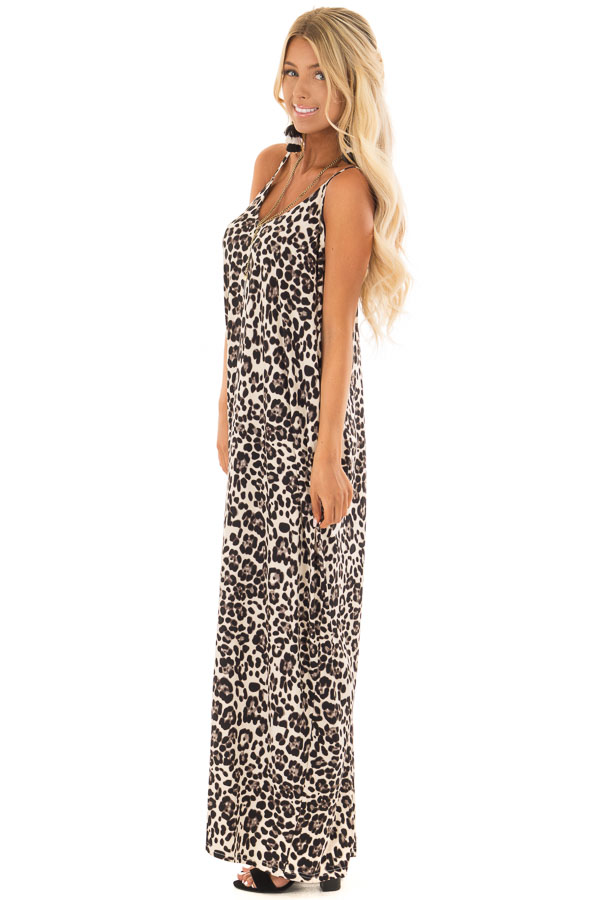 Beige Leopard Print Maxi Dress with Side Pockets - Lime Lush Boutique