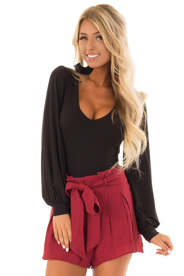 Black Long Sleeve Bodysuit With Plunging Neckline Lime