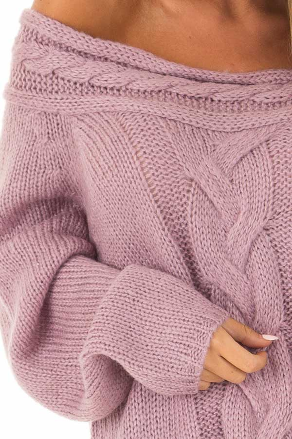 Lavender Off The Shoulder Knit Sweater With Braided Detail Lime