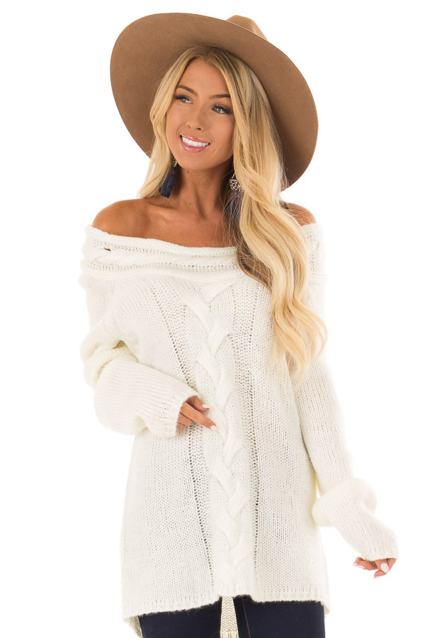 Cream Off The Shoulder Knit Sweater With Braided Detail Lime Lush