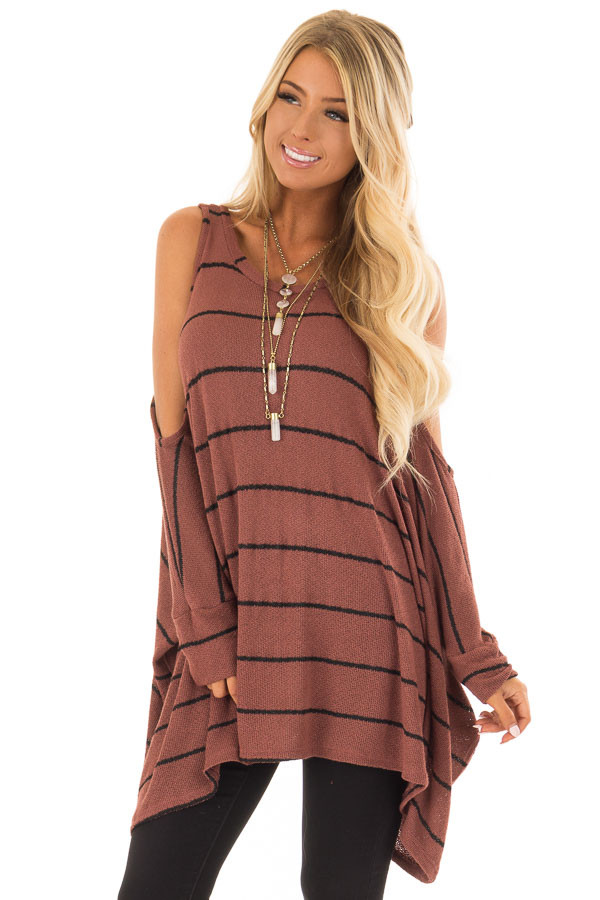 Rust Striped Cold Shoulder Knit Top With 34 Length Sleeves Lime