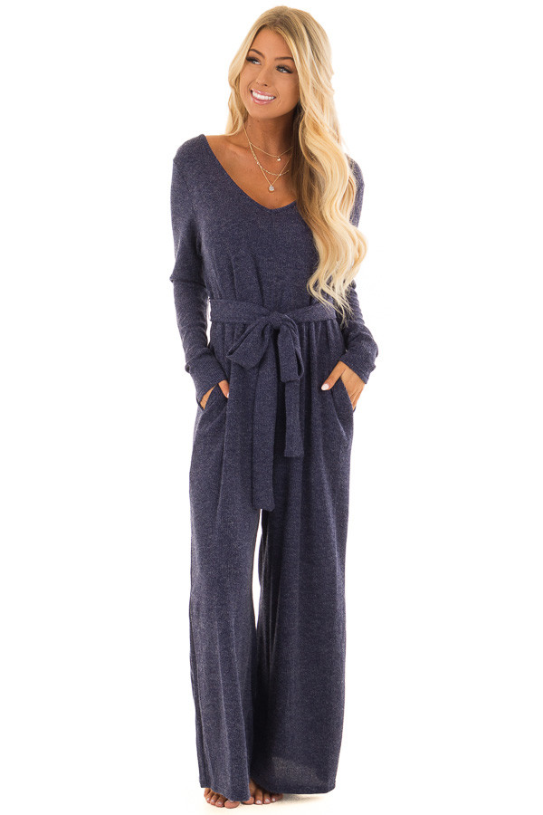 Navy Ribbed Knit Long Sleeve Jumpsuit With Waist Tie