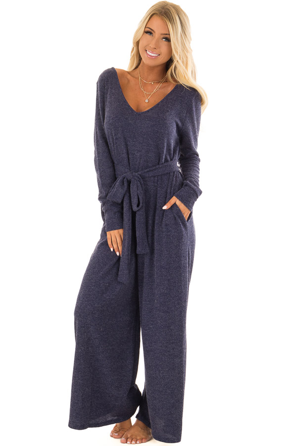 Navy Ribbed Knit Long Sleeve Jumpsuit With Waist Tie Lime Lush