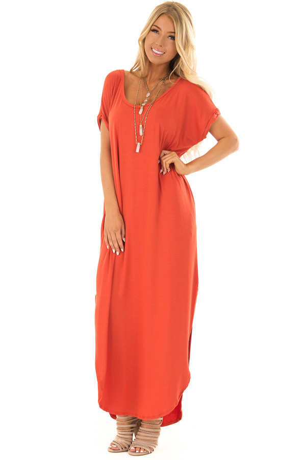 Rust Loose Fit Maxi Dress With Side Slit Lime Lush Boutique
